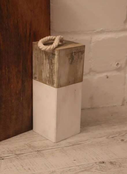 Türstopper Wood aRT© Vintage Gold Weiß